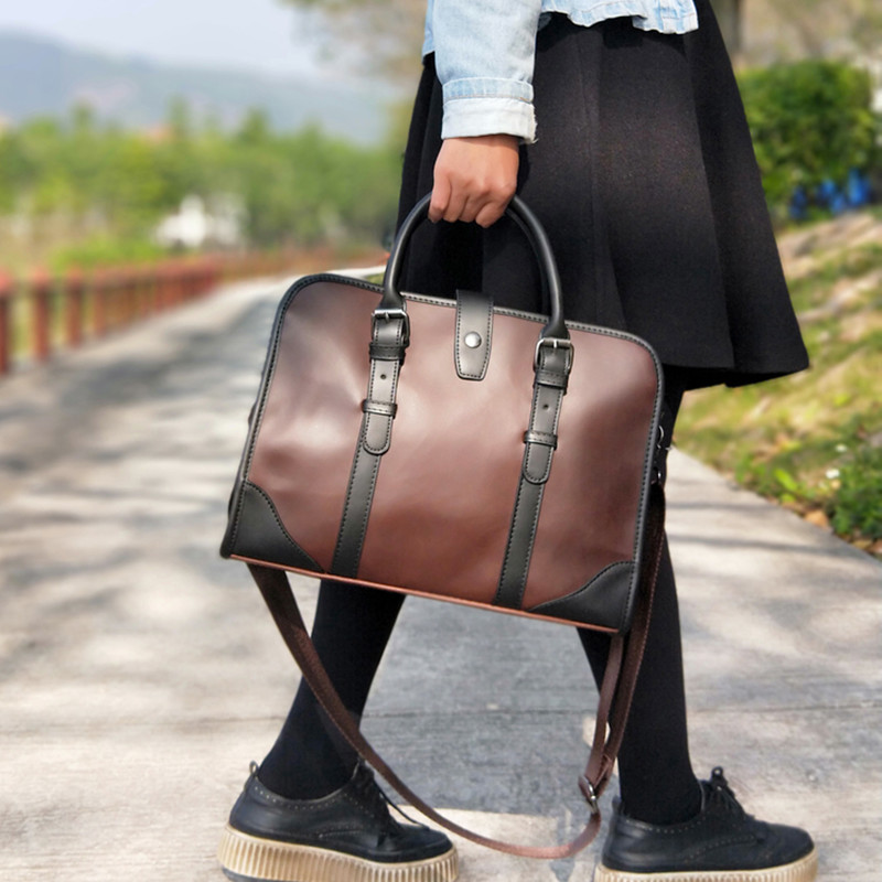 Vintage England Fashion Brand Design Women Leather Bag Horizontal Literary Handbag Dress OL Business Block Color Briefcase