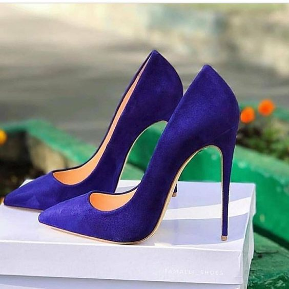 Royal blue Suede High Heel Shoes Poitned Toe Woman Pumps Sexy Shallow Stiletto Heels Size 35-42