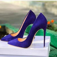 Royal blue Suede High Heel Shoes Poitned Toe Woman Pumps Sexy Shallow Stiletto Heels Size 35 42
