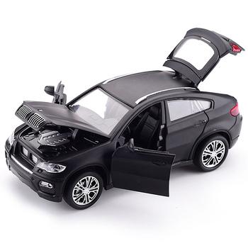 Gorący stop model odlewu samochodu 1 32 BMW SUV X6 miga dźwięk dziecko metalowy samochód zabawki wycofać koła dzieci prezenty na urodziny boże narodzenie tanie i dobre opinie JEERKOOL 3 lat Diecast 32125-1