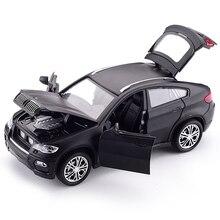 Hot Alloy Diecast Model Car 1:32 BMW SUV X6 Flashing Sound Child Metal Car Toys Pull Back Wheels Kids Birthday Christmas Gifts