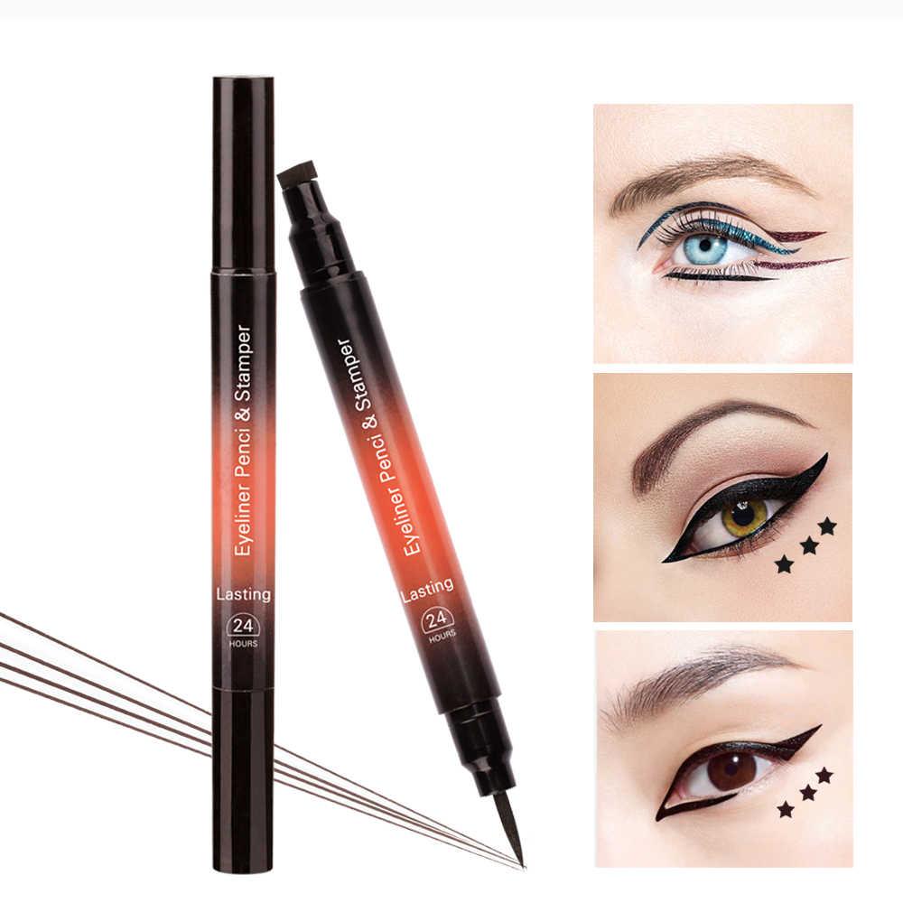 LULAA tweekoppige Eyeliner 2 Kleur Driehoeken Pentagram Seal Eyeliner Potlood langdurige Waterdichte Cosmetische Vrouwen Make-Up Tool