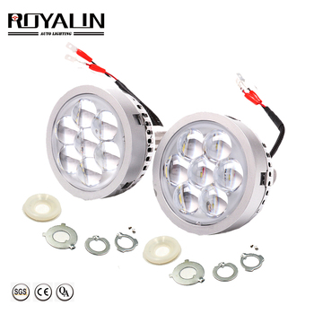 ROYALIN Car LED High Beam Projector Headlights Lens with Devil Eyes Motorcycle Lights for H1 H4 H7 9005 lamps Retrofit DIY new generation all in one high beam error free 9005 hid lights for madza 3
