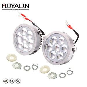 Image 1 - Royalin Auto Led Grootlicht Projector Koplampen Lens Met Devil Eyes Motorfiets Verlichting Voor H1 H4 H7 9005 Lampen Retrofit diy
