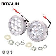 Royalin carro led farol alto lente do projetor com diabo olhos luzes da motocicleta para h1 h4 h7 9005 lâmpadas retrofit diy