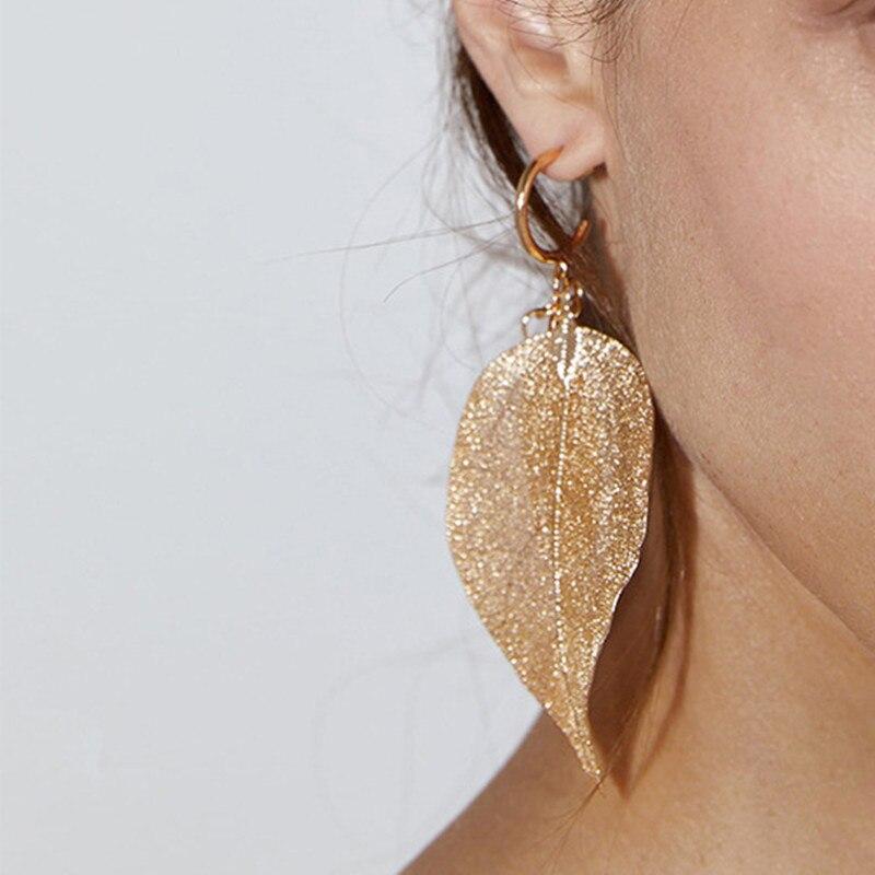Винтажные золотые металлические полые серьги-подвески в виде листьев для женщин, вечерние, Клубные, свадебные подарки, длинные висячие серь...