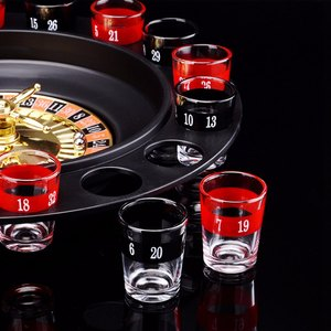 Image 4 - ABKT Novelty  Drink Turntable Toys Russian Roulette Wheel 16 Wine Cups Bar KTV Night Party Entertainment