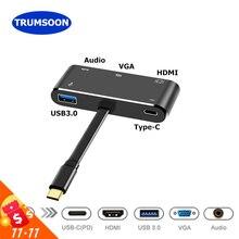 Trumsoonประเภท Cถึง 4K HDMI VGA USB C USB 3.0 อะแดปเตอร์HUBสำหรับMacBookพื้นผิวSamsung s8 DEX Huawei P20 Dock Projector TV