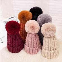 2019 Women Winter Knitted Hat Solid Color Turn Up Cuff Twist Big Pompom Beanie Cap(China)
