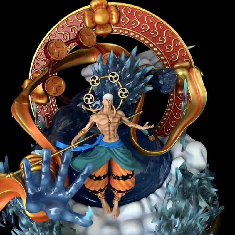 48cm Anime ONE PIECE Sky Piea Enel Thunder God GK Statue Resin 7 Colors Light Up Large Size PVC Figures Collection Model Toys