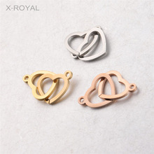 X-ROYAL 5Pcs/lot Stainless Steel Double Heart Shape Connectors Lovers Gift DIY Jewelry Findings Geometric Necklace Pendant Charm