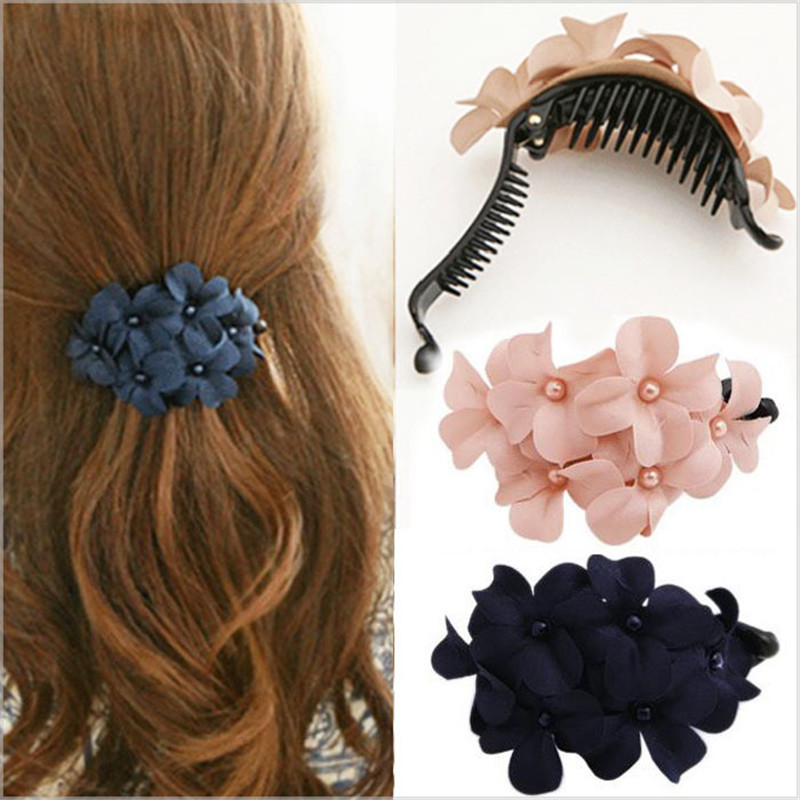 2019 New Hot Women's Fashion Hair Accessory Chic Women Girls Handmade Flower Hair Clip Banana Barrette Hair Clip Hair Pin Claw