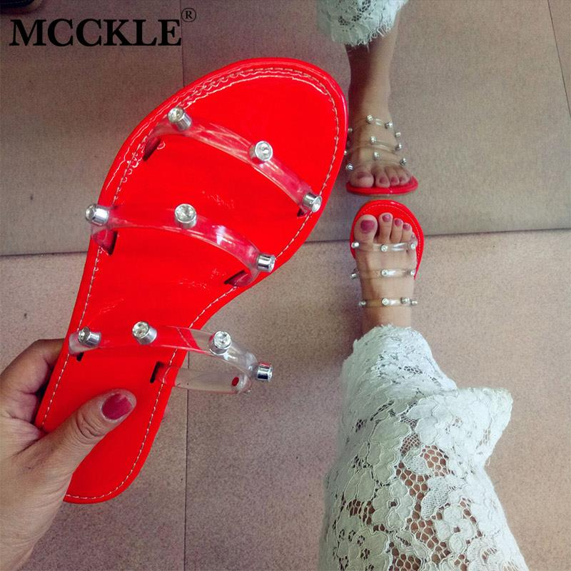 MCCKLE Women Summer Crystal Transparent Slippers Woman Candy Colors Flat Female Slides Ladies Flip Flops Fashion Beach Shoes New