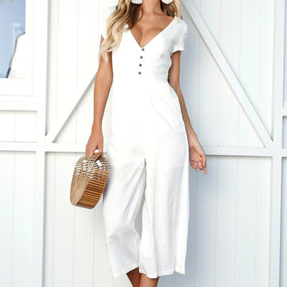 Womens V Neck Jumpsuit 2019 Women Mid Waist Short Sleeve Trouser Highstreet V Neck Spring Jumpsuits Wide Leg Pant Playsuit