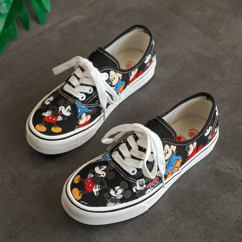 Summer Black Cartoon Canvas Shoes Woman Vulcanize Shoes Trendy Casual Sneakers Women Espadrilles muj