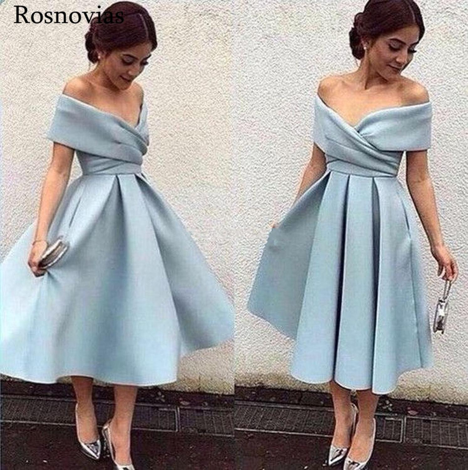 Sky Blue Short Bridesmaid Dresses 2019 Off Shoulder Open Back Tea Length Stain Wedding Guest Maid Of Honor Gowns Custom