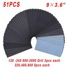 51 stücke Schleifen Papier Nass Trocken Schleifpapier Polieren 120-3000 Grütze Poliert Automotive Sandpapers Zubehör