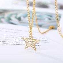 Ожерелье со звездами для женщин чокер с кулоном из циркония