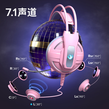 Yulass Gaming Headphones Wired Girl Pink Stereo Large Headphone Noise Canceling Headphone With microphone 5