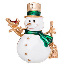 Shiny Lovely Snowman With Present Brooches For Women And Man Christmas Must-have Gold Hat Coat Accessories Jewelry(China)