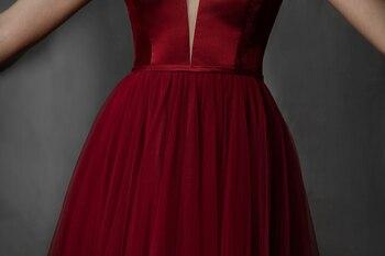 Simple Long Prom Dresses 2019 Deep V-Neck A-Line Formal Party Gowns Burgundy Evening Dress vestidos largos de robe de soiree 6