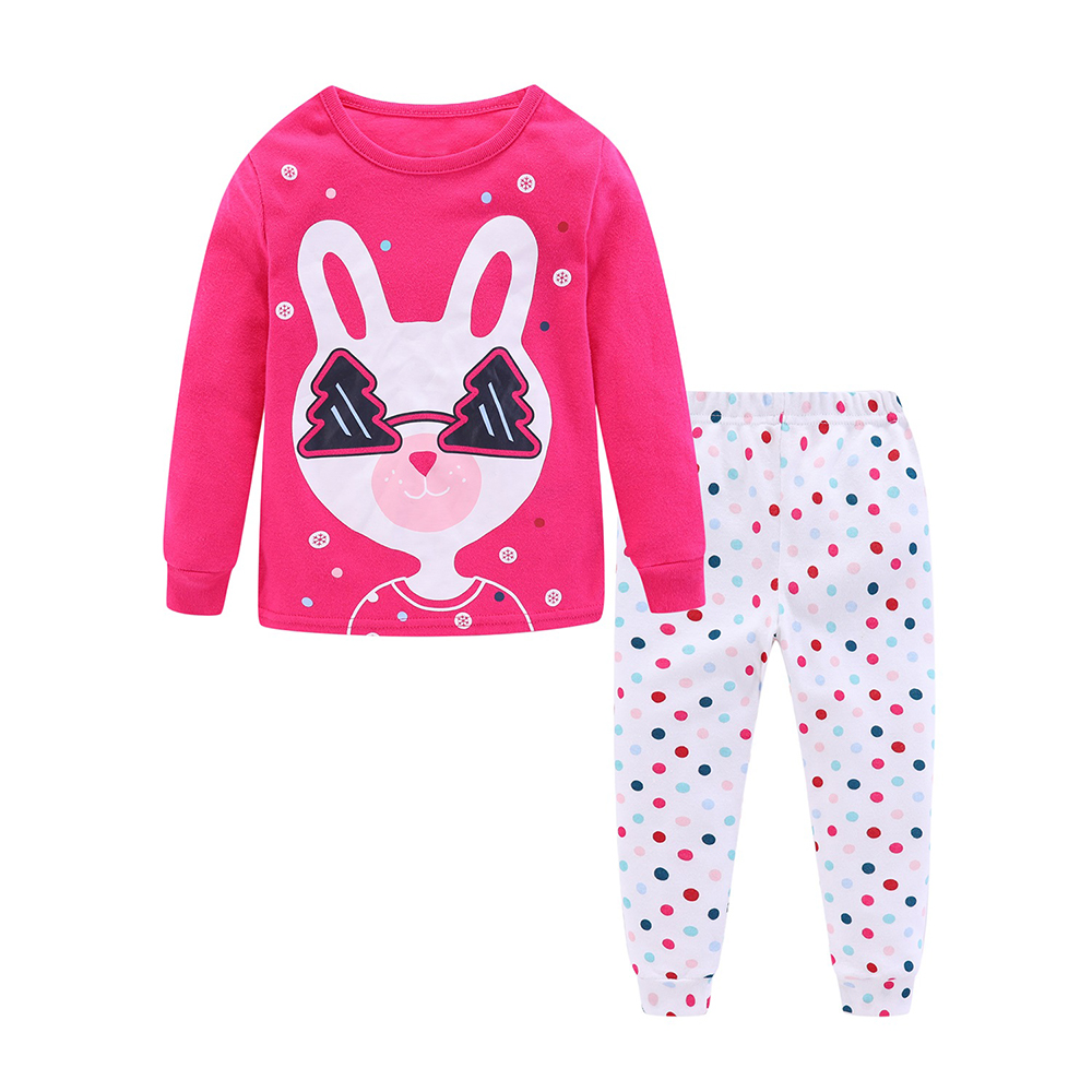 Mudkingdom Girls Boys Pajama Set Long Sleeve Cute Cartoon Printing Kids Sleepwear Home Set Children Clothes 5