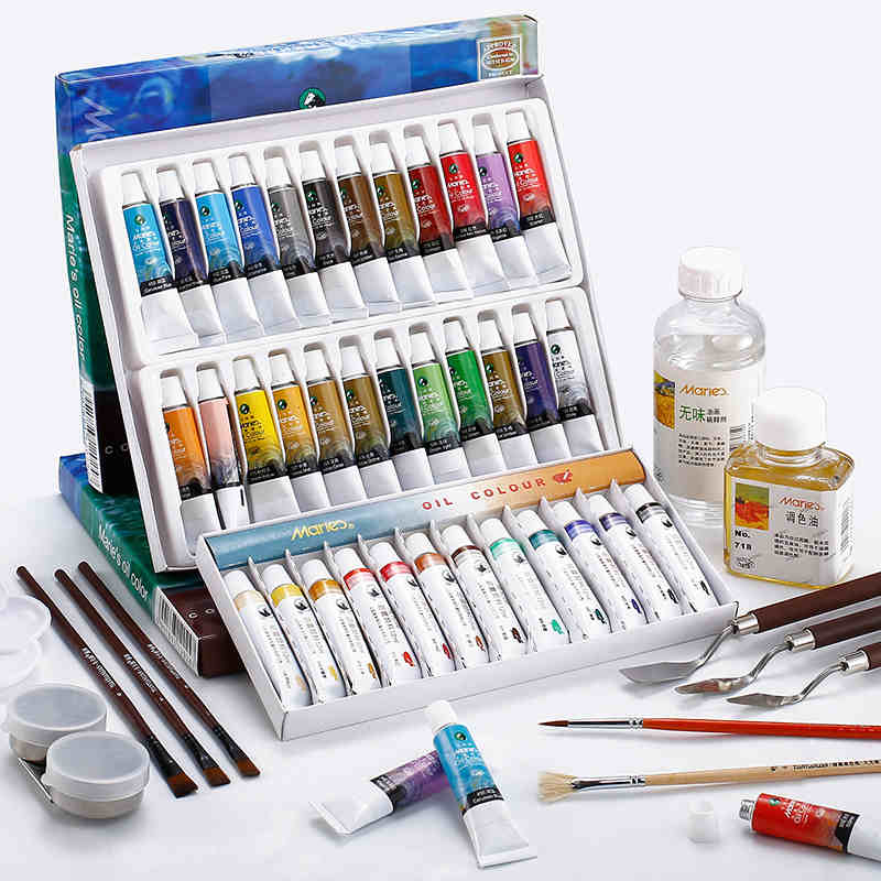 Marie's Oil Paint 12/18/24 Colors Oil Painting Pigment Set Oleo Para Pintar Pintura 12ml Paint Artist Beginner Oil Color Pigment