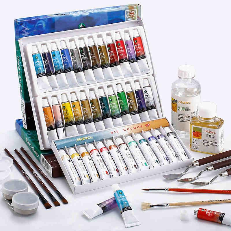 Marie's Oil Paint 12/18/24 Colors Oil Painting Pigment Set Oleo Para Pintar Pintura 12ml Paint Artist Beginner Oil Color Pigment