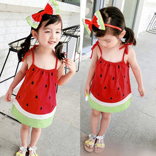 TELOTUNY 2020 Toddler Baby Kids Girls Slip Dress Watermelon Casual Ribbons Beach Dress Dress Summer Dresses for Girls(China)