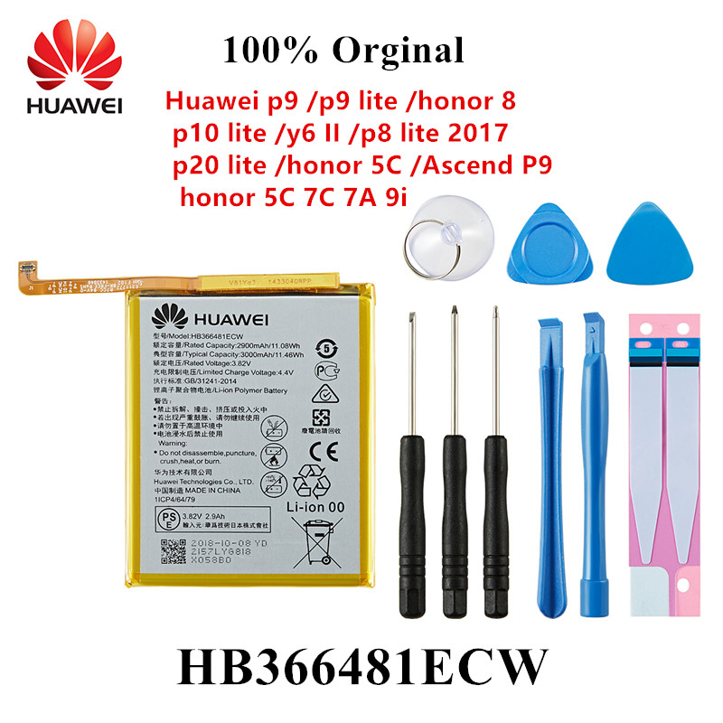 100% Orginal HB366481ECW Phone Battery For Huawei P9 /p9 Lite Honor 8 P10 Lite Y6 II P8 Lite 2017 P20 Lite  Ascend P9 +Tools