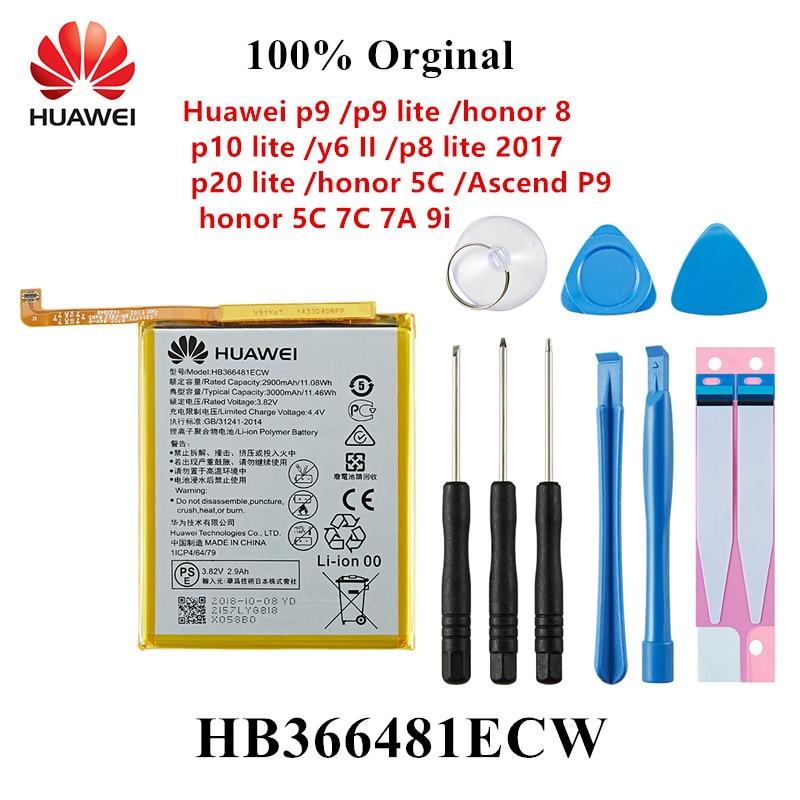 100% Orginal HB366481ECW Phone Battery For Huawei P9 /p9 Lite Honor 8 P10 Lite Y6 II P8 Lite 2017 P20 Lite  Ascend P9 +Tools