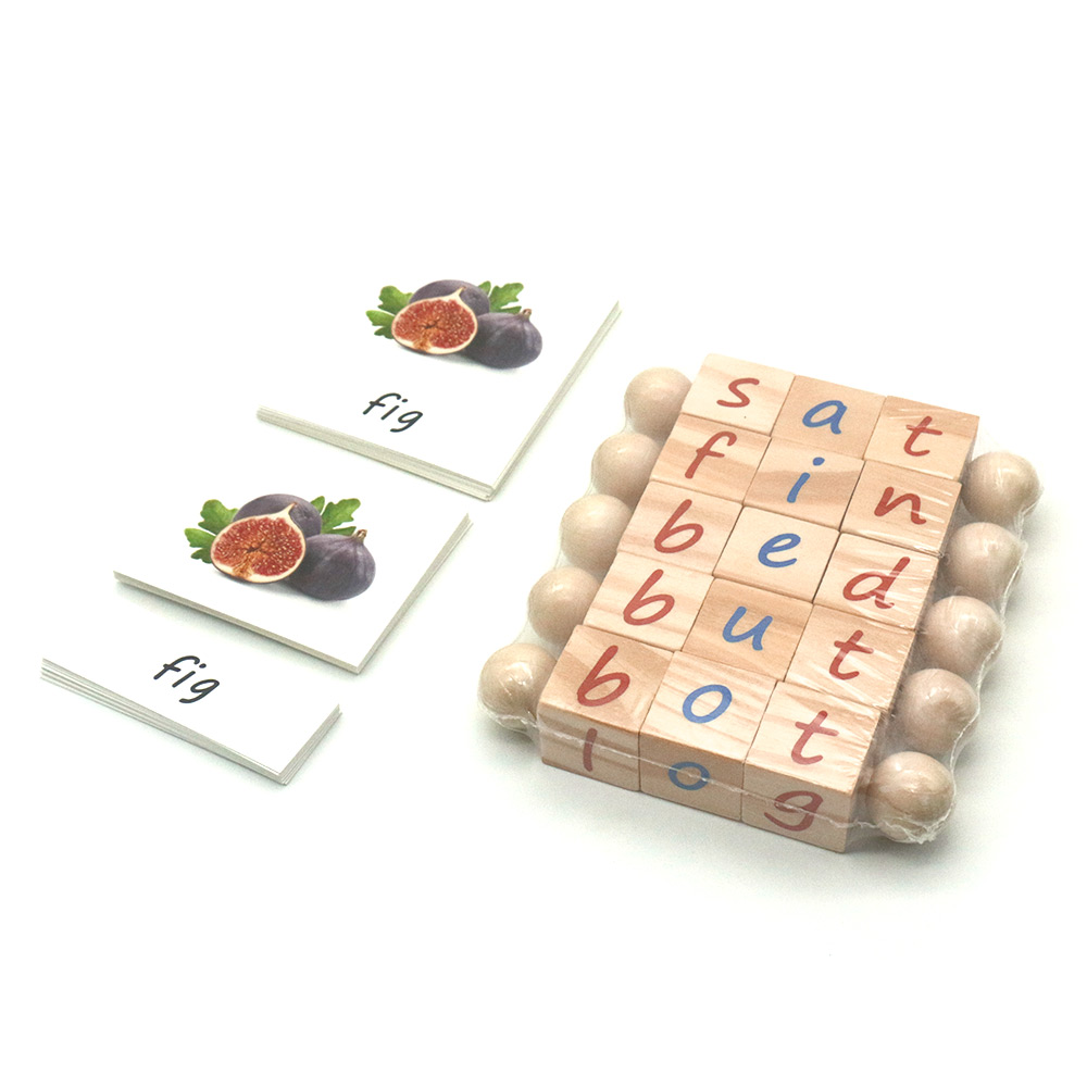 Phonetic Reading Blocks With 3 Parts Cards Early Learning Words Spelling Toy Educational Toys For 3 Year Olds MI0764H