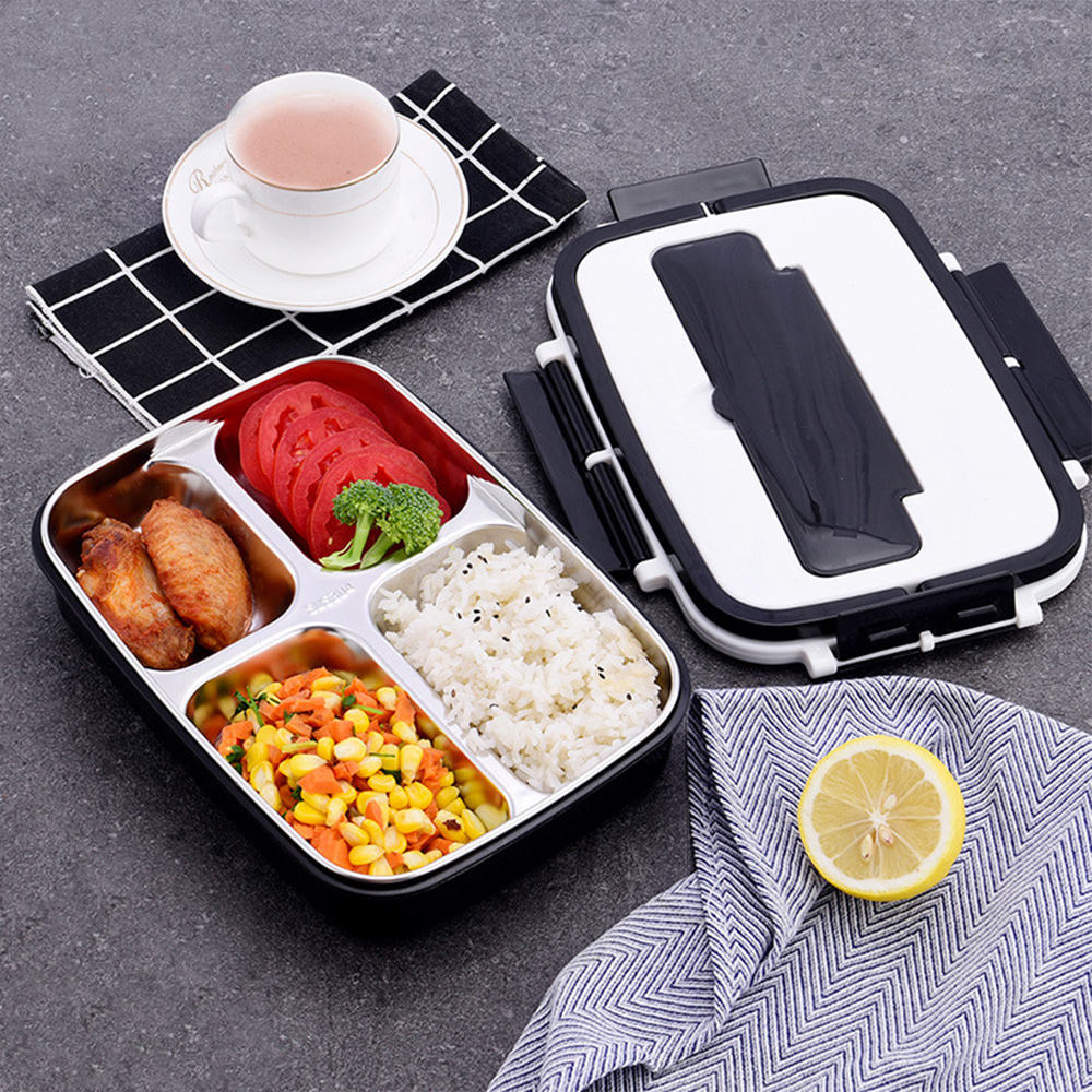 304 Stainless Steel Leakproof Lunch Box Food Containers With Compartments Lunchbox Office School Kids Bento Box With Spoon