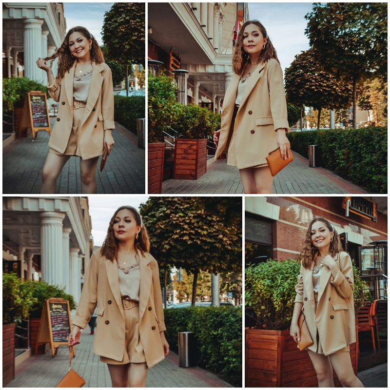 Simplee Elegant two-pieces women short suit Casual streetwear suits female blazer sets Chic 19 office ladies women blazer suit 15