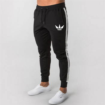 Men stripe Casual Pants gym joggers Fitness Tracksuit Bottoms Skinny Sweatpants Trousers Black Gyms Jogger Track