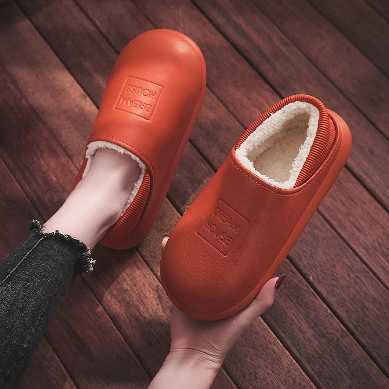 Women Winter Warm Home Slippers Leather Ladies Fur Lined Warm Mules House Indoor