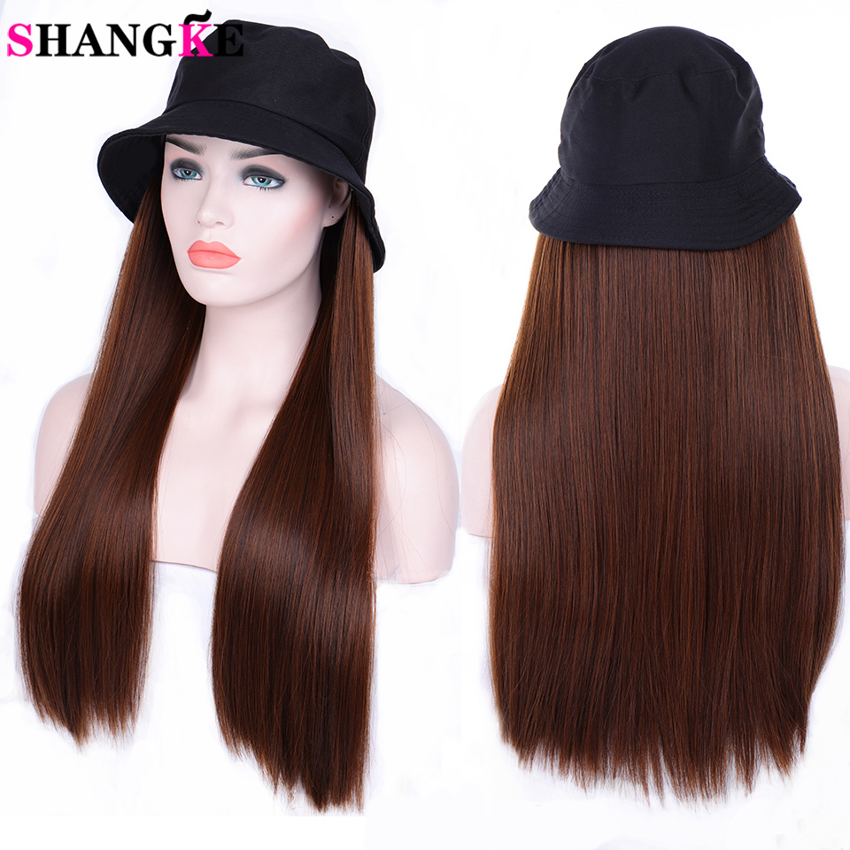 SHANGKE 24inches Long Wavy Wig With Elastic Knit Hat Wigs Heat Resistant Synthetic Natural Fake Hair For Women