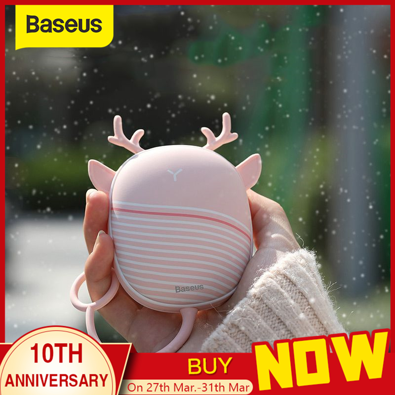 Baseus Heater Hand Warmer Heating Pad USB Rechargeable Handy Warmer Heater Pocket Mini Cartoon Electric Heater Warm With Lamp