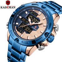 KADEMAN Neue Fußball Inspire Sport Uhr Luxus Männer Mode Voller Stahl Armbanduhren TOP Marke Dual Bewegung LCD Männliche Uhr Relogio