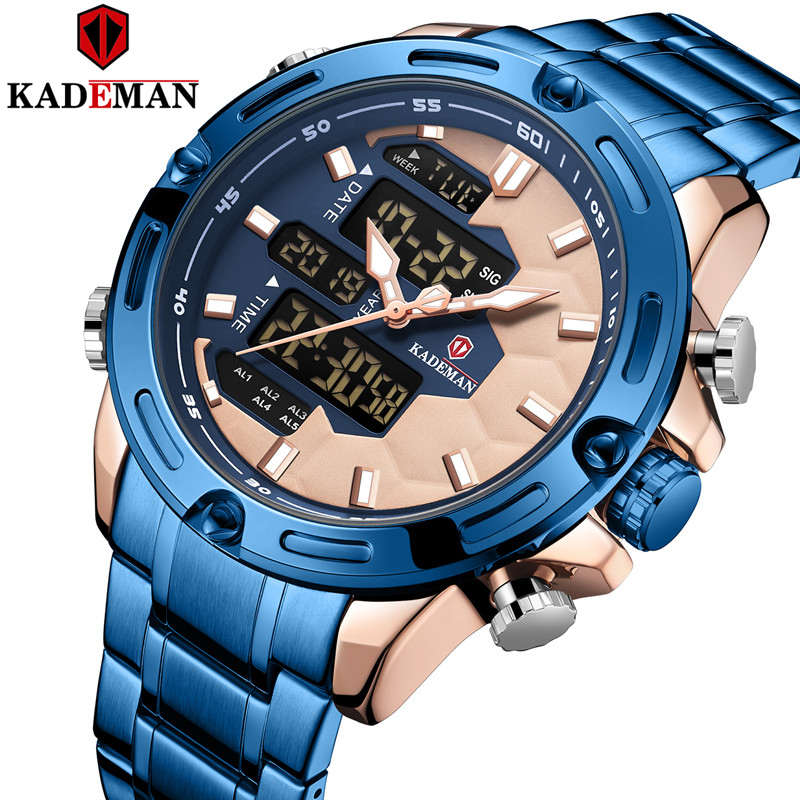 KADEMAN New Soccer Inspire Sport Watch Luxury Men Fashion Full Steel Wristwatches TOP Brand Dual Movement LCD Male Watch Relogio