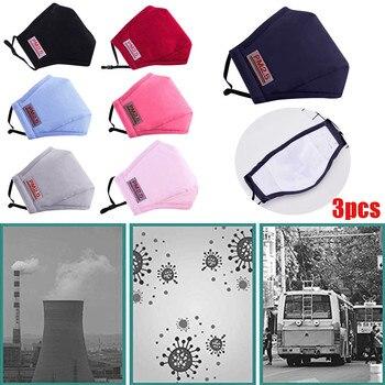 Máscara facial de algodón lavable antipolvo para exteriores PM2.5 de 3 uds.,...
