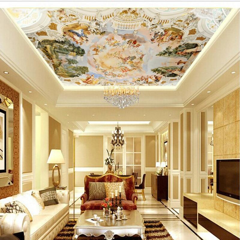 3D Wallpaper Wallpaper Oil Painting European-Style Ceiling Ceiling Mural Hotel Bar KTV Wall Non-woven Fabrics