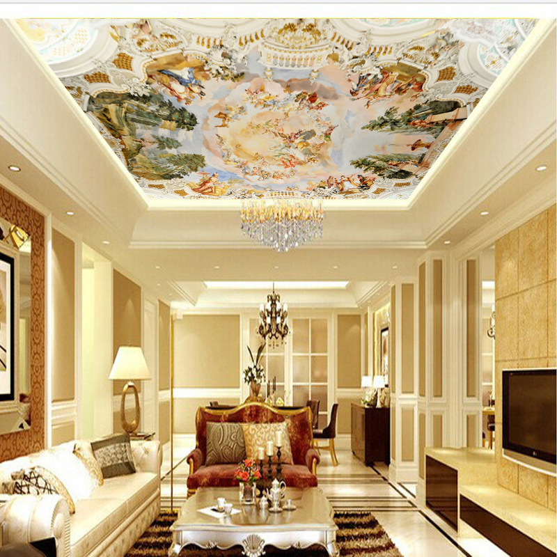Customizable 3D Wallpaper Oil Painting European Style Ceiling Mural Hotel Bar KTV Wall Nonwoven Fabric