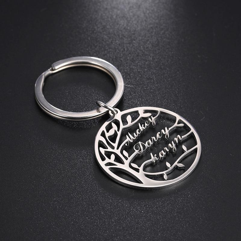 Porta-chaves de aço inoxidável da árvore da família do presente de natal do chaveiro do nome da árvore de lemegeton da vida