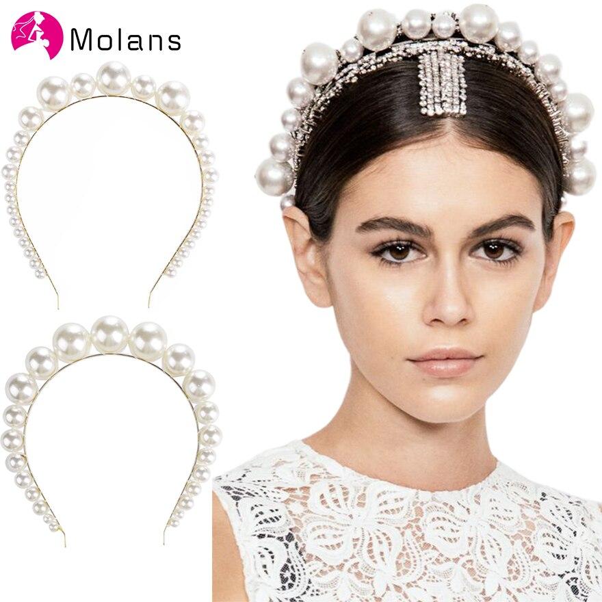 Molans Übergröße Große Elfenbein Weiß Perle Stirnband Volle Perle Frauen Haar Band Crown Trendy Braut Headwear Haar Zubehör
