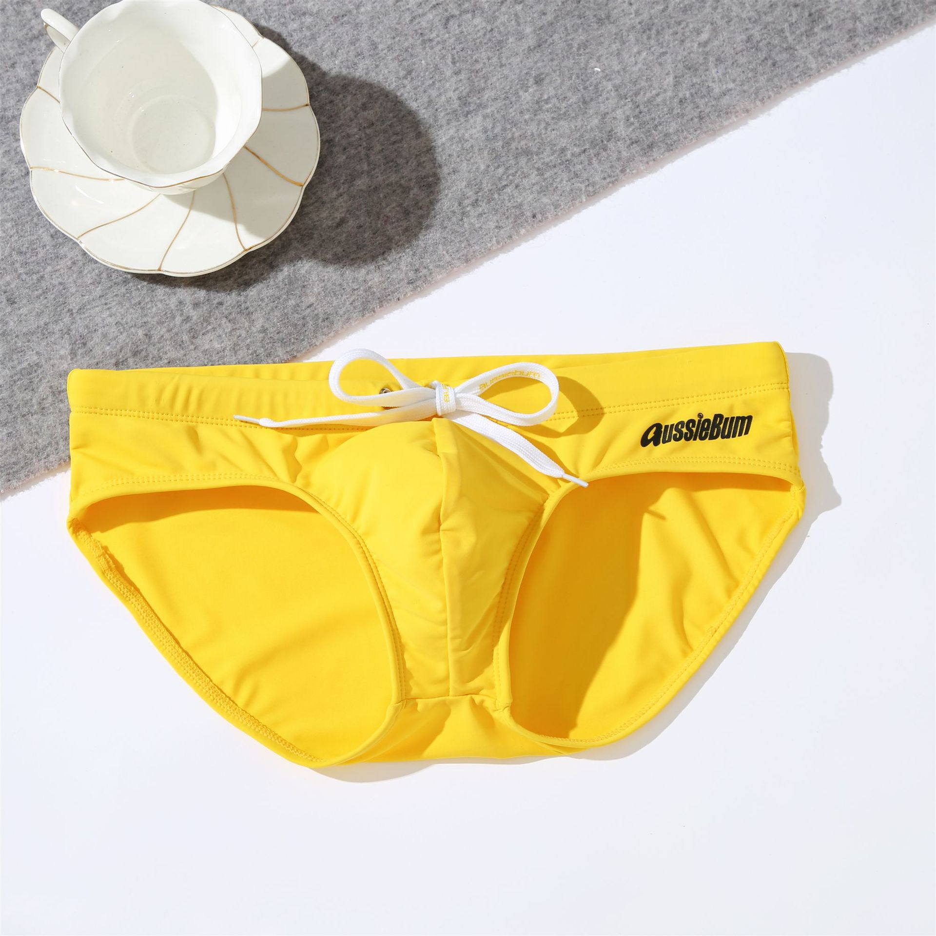 Aussiebum men's low-waisted elastic comfort solid color trend sexy youth triangle swimming trunks 2