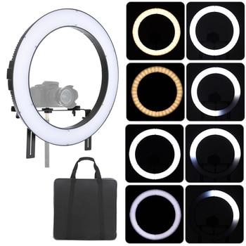 Falconeyes DVR-512DVC Ring Light Camera LED Vedio Light  CRI90+ Adjustable 3200K-5600K for Photography Studio Outdoor Lighting