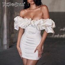 TWOTWINSTYLE Elegant Evening Party Dress Women Slash Neck Short Sleeve High Wais