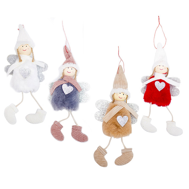 Happy New Year 2020 Latest Christmas Cute Silk Plush Angel Doll Xmas Tree Ornaments Christmas Decoration For Home Kids Gifts 13