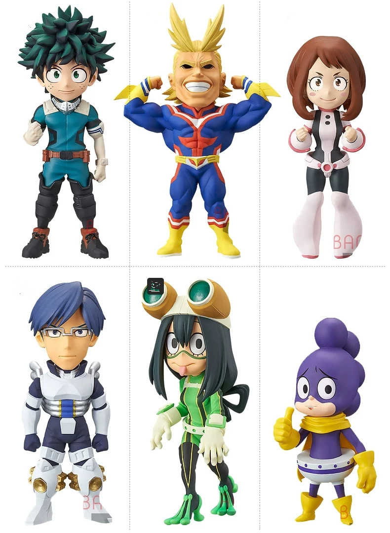 Original Banpresto WCF My Hero Academia Figure Set  Izuku All Might Tsuyu Ochako Tenya Collection Model Figurals